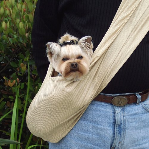 Easy Breezy Sling Dog/Pet Carrier by Susan Lanci Designs (Medium, Shimmering Gold) (Gold Pet Carrier)