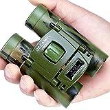 USCAMEL Binoculars Compact, 8x21 Folding Pocket Size, Travel Mini Telescope HD Bak4 Optics Lenes Easy Focus, Army Green