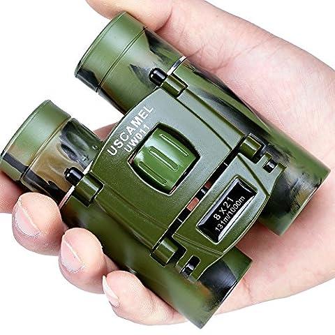 USCAMEL Binoculars Compact, 8x21 Folding Pocket Size, Travel Mini Telescope HD Bak4 Optics Lenes Easy Focus, Army (Folding Binoculars Kids)
