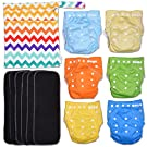 ColorZag 13-Piece Baby Gift Set - Pack of 6 Cloth Diapers, 6 Bamboo Charcoal Inserts and WetDry Bag, Baby Gift All in One Cloth Diapers Set D