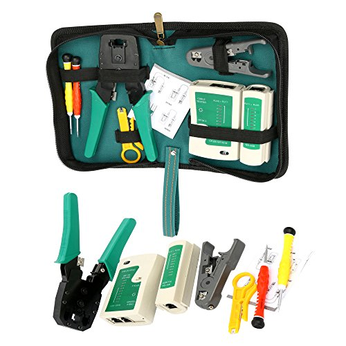 Yaetek Network Ethernet LAN Kit -RJ45 RJ11 Cat5e Cat6 Cable Tester Test Tool - Crimper Crimping Tool Set - Network Cable Repair Kit -Maintenance Network Wire Punch Down Impact Tool Stripper Cutter Set