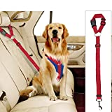 Docamor Adjustable Pet Dog Cat Car Seat Belt Strap Restraint Safety Leads Vehicle Seatbelt Harness Nylon Fabric Lava Red Elastic Durable Belt for Car For Sale