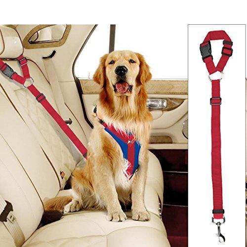 Docamor Adjustable Pet Dog Cat Car Seat Belt Strap Restraint Safety Leads Vehicle Seatbelt Harness Nylon Fabric Lava Red Elastic Durable Belt for Car