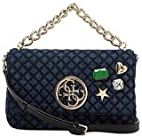 GUESS G Lux Quilted Denim Crossbody Flap Hobo Bag Handbag