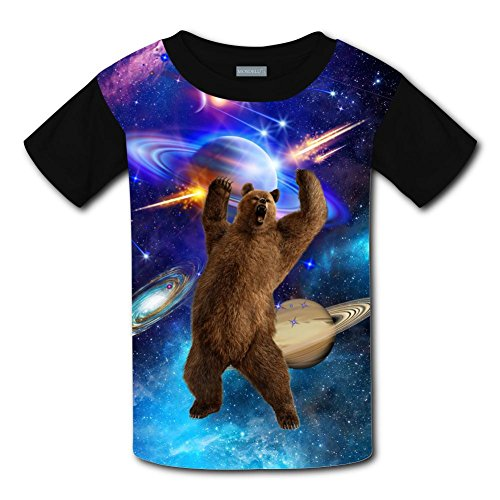 LOGvvl Youth Galaxy Angry Black Bear T-Shirt Short Sleeve 3D