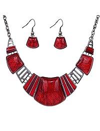 Yazilind Vintage Ethnic Tibetan Sliver Red Turquoise Bib Collar Earrings Necklace Jewelry Set Women