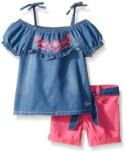 kensie Toddler Girls' Fashion Top and Short Set, Ruffles Pink, 4T