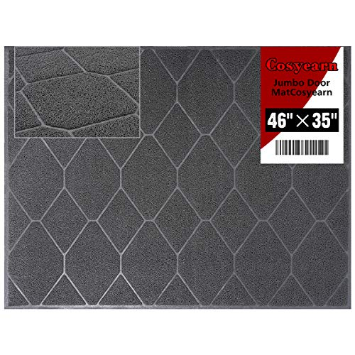 Entry Way Doormat for Front Exterior Doors, XL Jumbo 46x35 Inches Large Size,Inside or Outside Entryway Front Door Mats, Fast Drying, Phthalate and BPA Free,Easy to Clean,Non Slip and Dutable (Grey)
