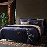 1500T Brushed Cotton Special Embroidery Duvet Cover Set 4-Piece Without Comforter Floral Styleextra queen^^^Purple Flower darkblue base