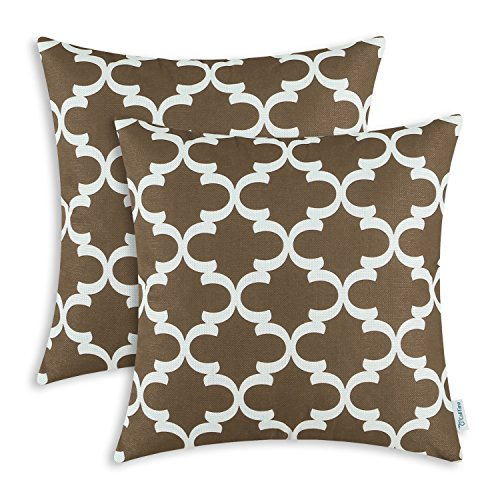 Pack of 2 CaliTime Throw Pillow Covers Cases for Couch Sofa Home Decor, Modern Quatrefoil Accent Geometric, 20 X 20 Inches, Coffee