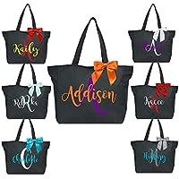 Custom Two Color Monogrammed Tote Bag