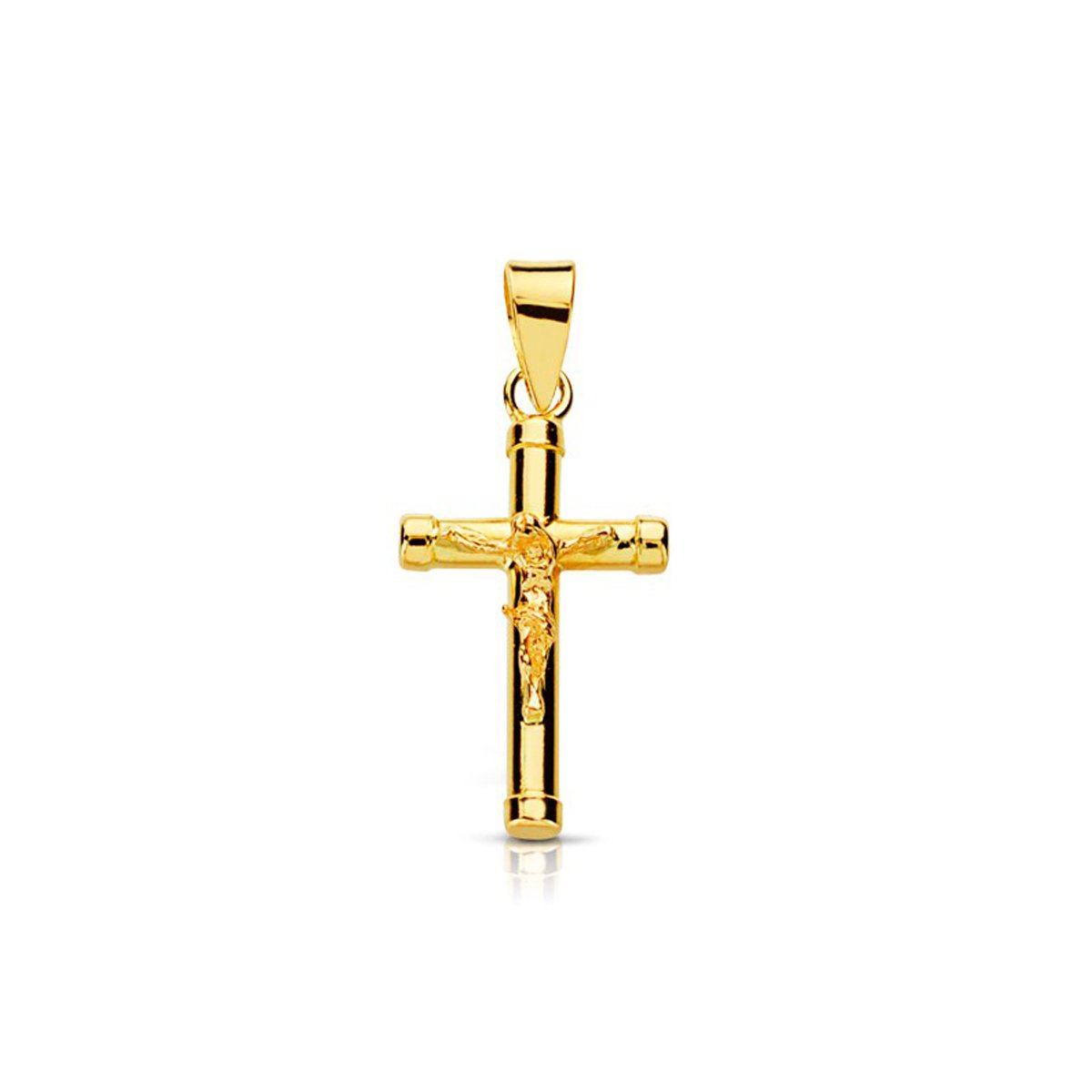 18ct Yellow Gold Cross with Christ 17x10.5 mm Mondepetit 8464C