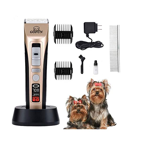 GOFUN Dog Clippers, 5 Speed Cordless Low Noise Pet Clippers Dog Trimmer for Dogs Cats Horses with LCD Screen Indicate Power/Oil/Cleaning 1