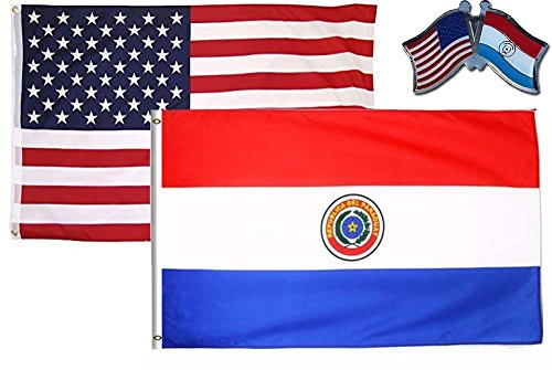 K's Novelties 2 Flag Set with Pin USA & Paraguay Country 2x3