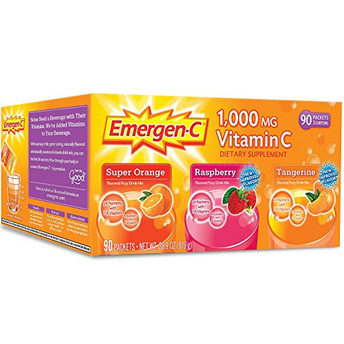 Emergen-C 1,000 mg Vitamin C Dietary Supplement Drink Mix, Super Orange/Raspberry/Tagerine, 4 Pacck (360 Packs Total ) by Emergen-C