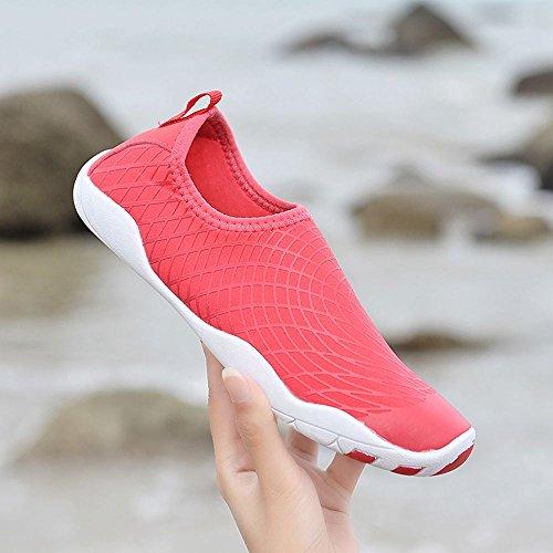 Sitaile Hombres Mujeres Quick Dry Aqua Zapatos Ligero Deporte Al Aire Libre Descalzo Beach Zapatos De Agua Rosered