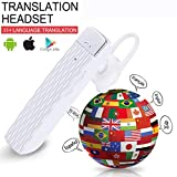 Smart Bluetooth Translator Earbuds Wireless Translation Device Intelligent Headset Instant Portable Translator Suit to Andriod & iOS System Real Time Translator (White)