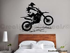Vinyl wall decal sticker dirty motocross bike for Bmx bedroom ideas