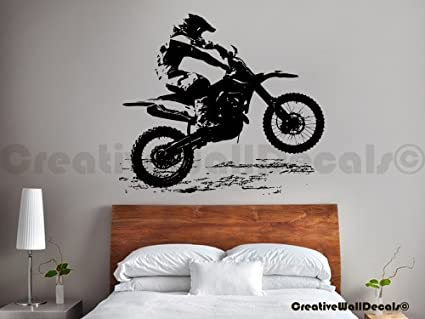 Vinyl wall decal sticker dirty motocross bike moto kids gift bedroom r1737