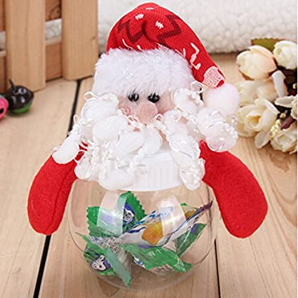 mini santa christmas candy dish set box clear plastic candy bag gift storage bottle holder home