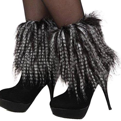 Cover Warmers Leg (Women Winter Soft Faux Fur Leg Warmers Boots Cuffs Cover 20cm)