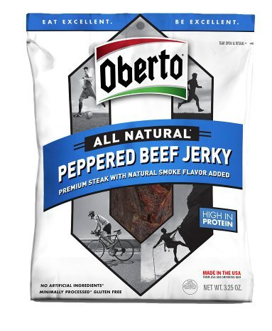 Oberto All Natural Peppered Beef Jerky, Hign in Protein 3.25 oz. - 2 Pack by Oberto