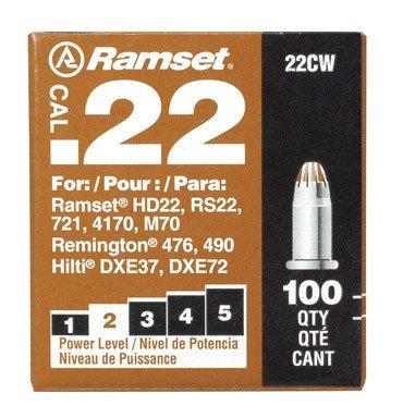 Ramset Powder Load 0.22 Single Caliber, Brown, 100 Piece (22 Short Pistol Ammunition)
