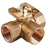 Johnson Controls VG1845AF Stainless Steel NPT Threaded End Connection Three-Way Ball Valves, 2.9 Cv Port, 1/2'' Size