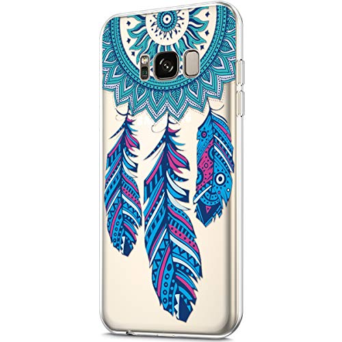 Price comparison product image ikasus Case for Galaxy S8, Clear Art Panited Pattern Design Soft & Flexible TPU Ultra-Thin Transparent Flexible Soft Rubber Gel TPU Protective Case Cover for Galaxy S8 Case, Blue Feather dream catcher