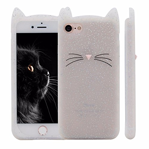 we3Dcell cute white cat MEOW luxury bling silicone soft protective case 3D (for iphone 5 / 5S / 5SE)