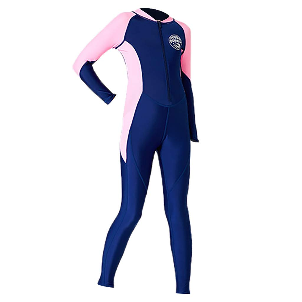FEDULK Children's Sunscreen Swimsuit Short Sleeves One Piece Diving Suit Fast Drying Water Sport Wetsuit(Navy, Small)