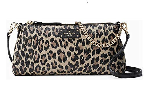 - Kate Spade Grove Street Leopard Jane Women's Leather Clutch Shoulder bag