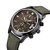 YISUYA Men's Sport Military Chronograph Waterproof Japanese Movement Canvas Band Wrist Watch Army Green