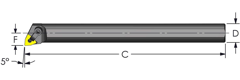 Ultra-Dex A32V MWLNR4 Steel Boring Bar to Hold a Negative WNMG 432 at -5 Degree Lead Coolant Thru Right Hand 2.000 x 16 2.400 Minimum Bore