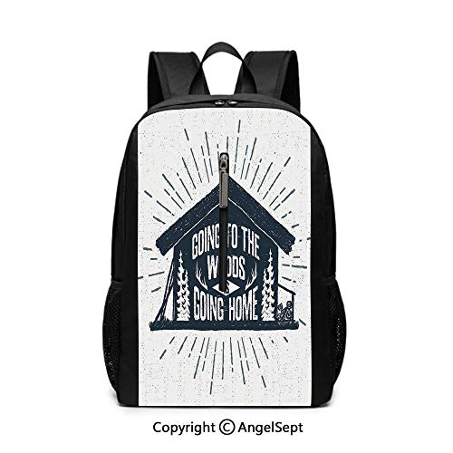 Travel Gaming Laptop Backpack,Cabin Decor,Retro Style Hand Drawn Label with Wooden Cabin Chalet Quote Hipster Lodge,Black White Grey12x17x6.5inches,Lightweight Rucksack knapsack