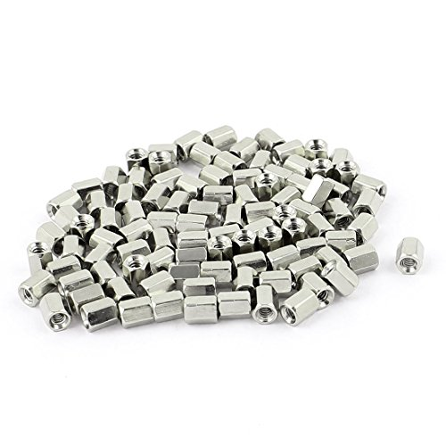 uxcell 100pcs #4-40 6mm Female Thread Brass Hex Nut Spacer Standoff Pillar Cable Spacer
