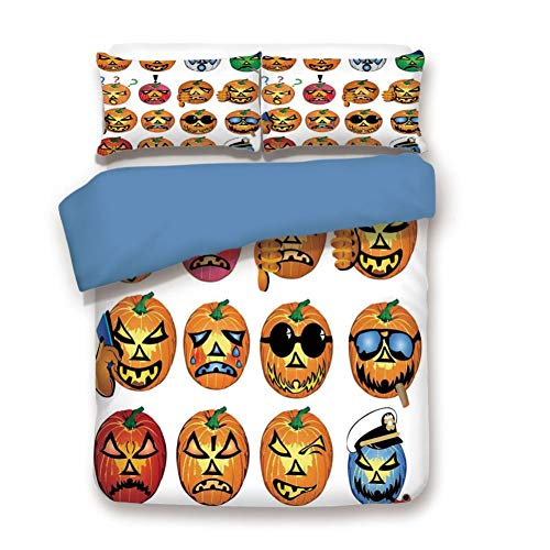 Bd Humour Halloween (Duvet Cover Set Queen Size, Decorative 3 Piece Bedding Set with 2 Pillow Shams, Carved Pumpkin with Emoji Faces Halloween Humor Hipster Monsters)