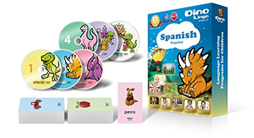 Spanish for Kids - Learning Spanish for Children DVD Set (6 DVDs), Spanish flashcards (150 cards)