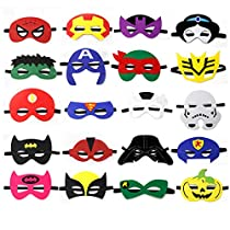 Kids Party Cosplay Masks Felt Party Masks 20 Pieces Multiple Sizes Adjustable Elastic Band for Birthday Halloween Party Supplies to Decoration