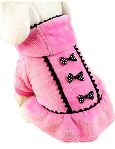 Picture of ACEFAST Puppy Pet Dog Winter Hoodie Bowknot Warm Coat Soft Plush Princess Jasmine Dress (Pink, S)