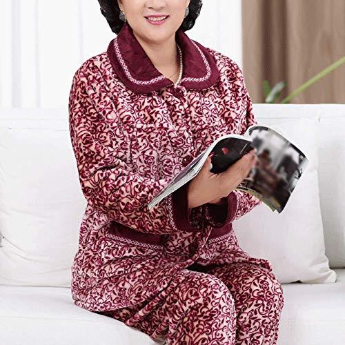 Pantaloni Stampa Nightwear Comfort Pajama Long Ladies Set Flanella leaves Fleece Purple Winter Pigiama PJ Top E XL Warm Sleeve wnO4C4Sq