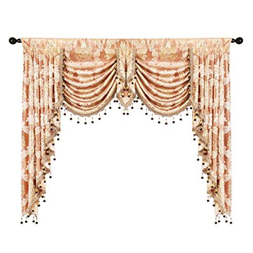 elkca Golden Damask Jacquard Swag Waterfall Valance Luxury Curtain Valance for Living Room Rod Pocket Valance (Damask-Coffee, W59 Inch,1 Panel)