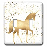 3dRose PS Animals - Image of Gold Confetti Unicorn - Light Switch Covers - double toggle switch (lsp_280773_2)