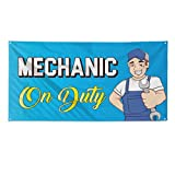 Mechanic On Duty #1 Outdoor Fence Sign Vinyl Windproof Mesh Banner With Grommets - 3ftx6ft, 6 Grommets