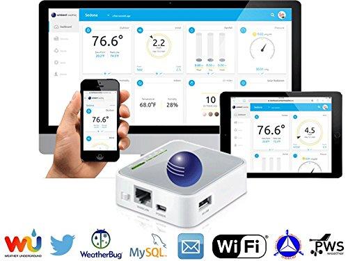 Data Bridge - Ambient Weather WEATHERBRIDGE Universal WIFI IP Ethernet Server for Weather Stations, Compatible with Alexa