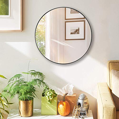 hosaken Wall Mount Round Mirror, Modern Metal Framed Mirror, Decorative Mirror for Bedroom, Living Room and Gallery Way, Size 25.6 , Black