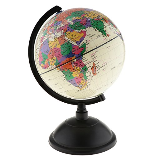 Homyl World Globe Piggy Bank Antique Decorative Desktop Globe Rotating Earth Geography Globe - White, as Described