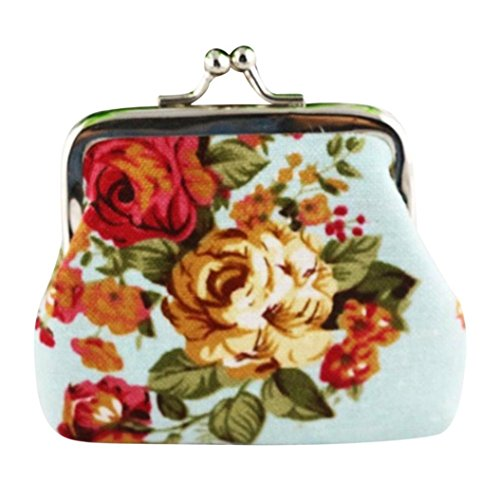 SMTSMT Women Small Light Blue Retro Wallet Flower Vintage Purse Hasp rrqvd4wA