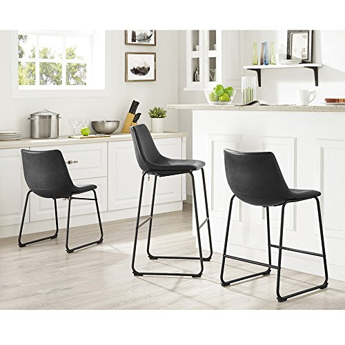WE Furniture Black Faux Leather Dining Chairs, Set of 2 by WE Furniture (Image #4)