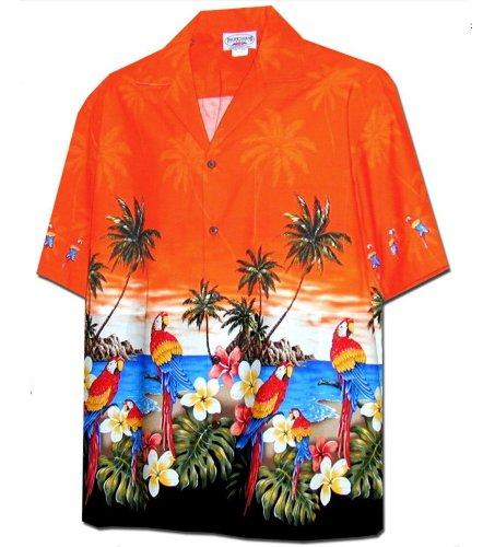 - Pacific Legend Parrots Beach Border Hawaiian Shirt (2X, Orange)